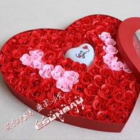 创意情侣礼品梦幻七彩魔灯100朵玫瑰香皂花超大爱心礼盒 I❤Y 红色