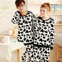 台湾爆款 大奶牛摇粒绒套头休闲情侣睡衣两件套