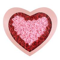 七夕节日创意礼物100朵玫瑰香皂花/高档爱心礼盒 红边粉心粉盒