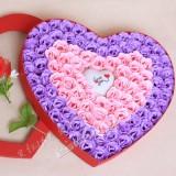 情人节礼品梦幻七彩魔灯100朵粉紫玫瑰香皂花红色礼盒