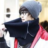 韩国时尚个性毛线开叉套头围巾/拉链围脖