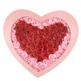 情人节礼物100朵玫瑰香皂花高档超大爱心礼盒 粉边红心粉盒