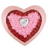 情侣礼品100%的爱玫瑰香皂花红边粉心加灯 粉色礼盒 玫瑰皂花