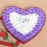 情人节礼品梦幻七彩魔灯100朵白紫玫瑰香皂花红色礼盒 纯洁的爱