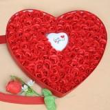 100朵玫瑰香皂花高档爱心礼盒配送七彩魔灯 全红 幸福之约