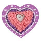 情人节创意礼品七彩魔灯100朵粉紫玫瑰香皂花/紫色爱心礼盒