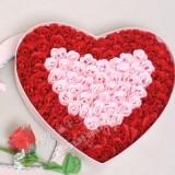 100朵玫瑰香皂花蝴蝶结镶边高档粉爱心礼盒 比翼双飞