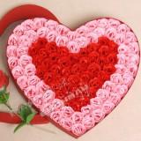 情人节礼物100朵玫瑰香皂花超大爱心礼盒/节日礼物 粉边红心