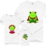 青蛙超人三口亲子装夏新款短袖t恤